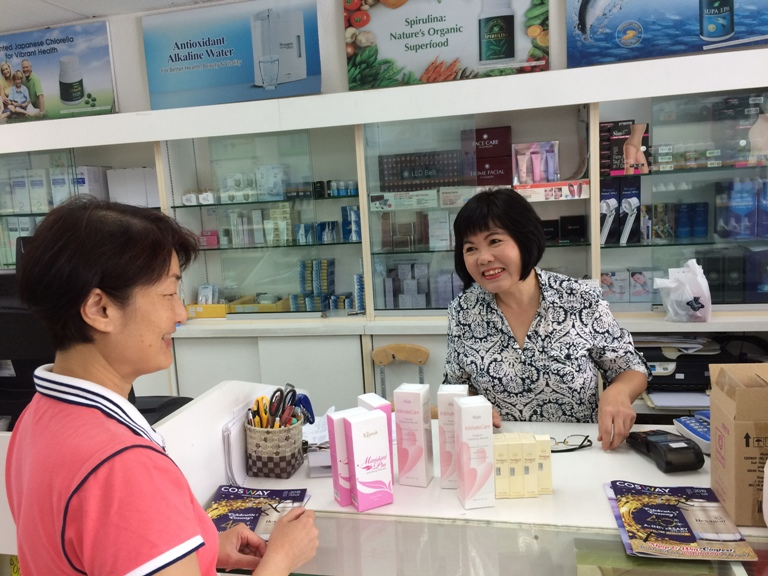 One of my regular customers buying the vaginal health products - herbal vaginal washes and vaginal tightening gel. My shop has been in operation since 1994